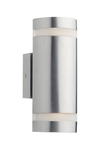 Dar Wessex 2 Light Cylinder Stainless Steel Wall Bracket Led IP44 WES2144